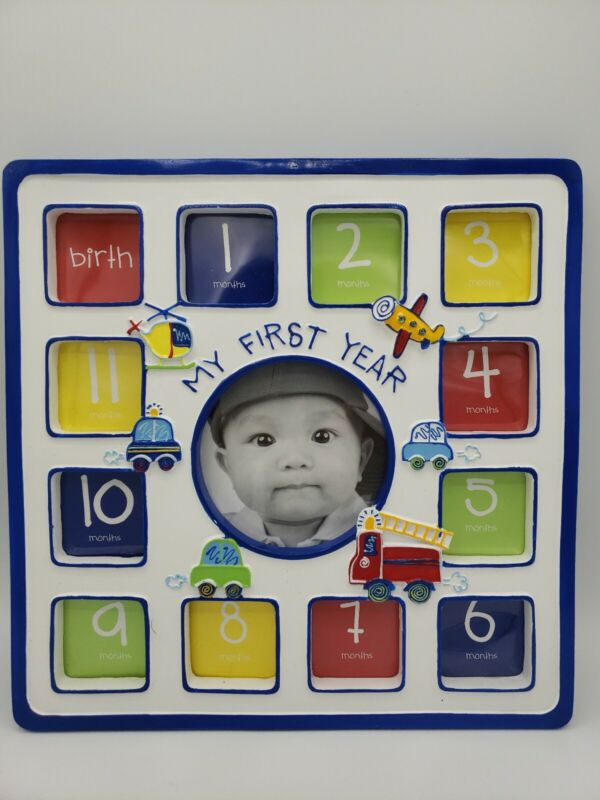"""""""My First Year"""" Photo Frame - Holds Twelve 1½""""×2"""" and One - 3½×5 Photo Open Box"""