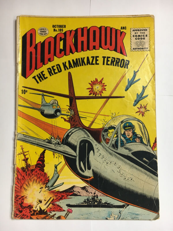 Blackhawk #105 G  Quality comic 1956 Red Kamakazi