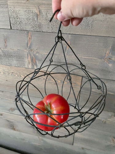 Vintage Rustic Wire Hanging Fruit OR Plant Basket  ~ Country Farmhouse Primitive