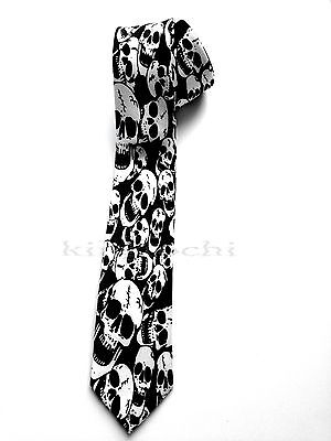 SKULLS NECKTIE BLACK HALLOWEEN PARTY SKELETON SKULL - Black Tie Halloween Party