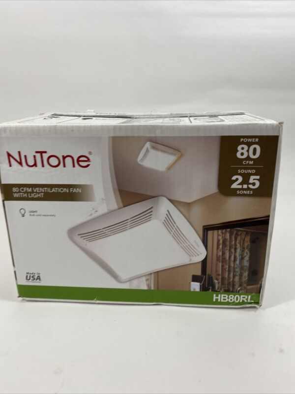 Nutone 80 CFM Ceiling Bathroom Exhaust Fan with Light HB80RL NEW OPEN BOX
