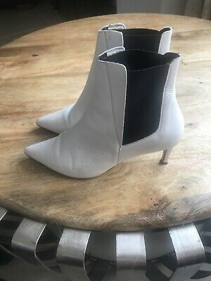 Office London Ladies White Leather Pointed Toe Ankle Boots Side Elastic EU39 UK6 for sale  Shipping to South Africa