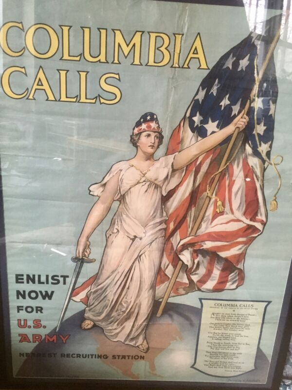 Large Antique Original WW1 US Army Poster Columbia Calls professionally Framed