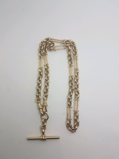 9ct yellow gold Fob Chain with T Bar