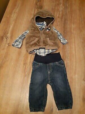 Cooles Winter Outfit für Jungen (3 tlg.), Jeans + Hemd + Kuschel-Weste, Gr. 68