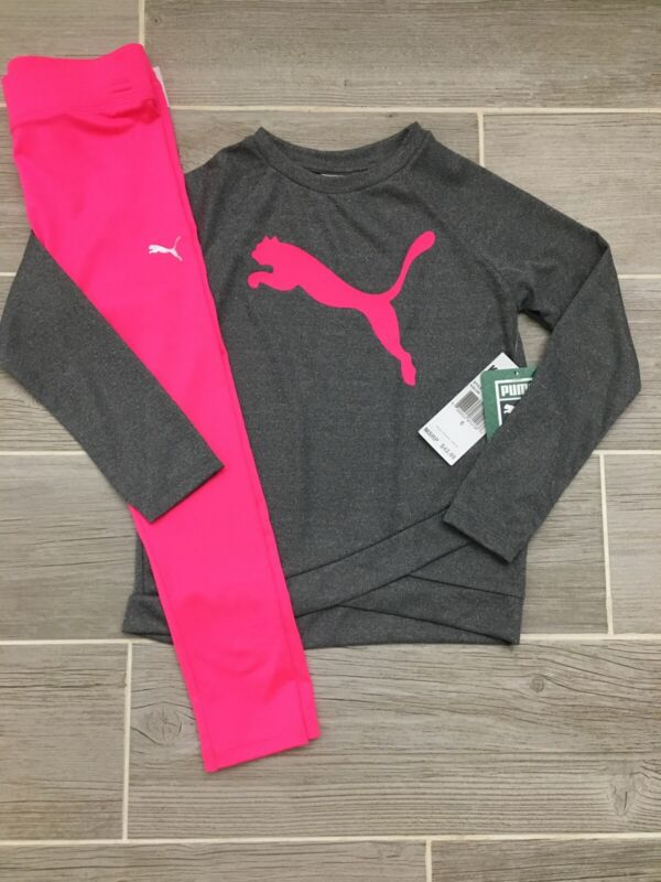 Puma Girls Outfit Gray Shirt & Pink Leggings Size 6 New NWT $42 Cute Spring Soft