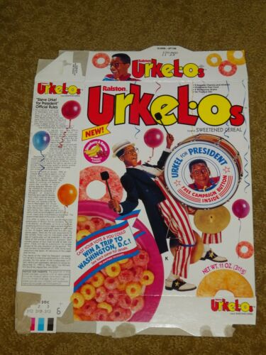VINTAGE CEREAL BOX Ralston New URKLE-Os Urkel for President 1991