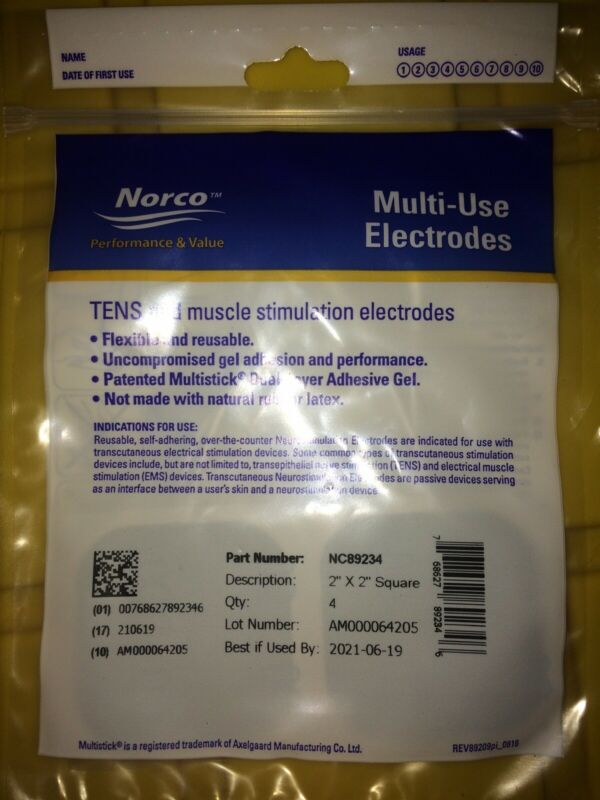 "Norco™ Multi-Use Electrodes 4 Pads 2"" x 2"" TENS and muscle Stimulation NEW"