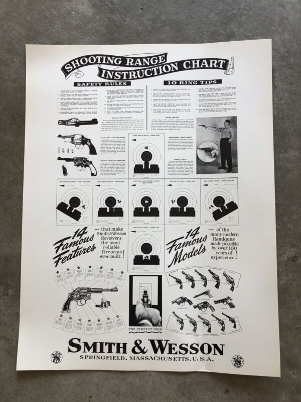 """Original Smith and Wesson Vintage Display Poster 26"""" X 20"""""""