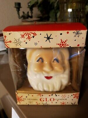 """Vintage  """" Will & Baumer """"  Holiday """"Glo Santa Candle""""  6 inch tall"""