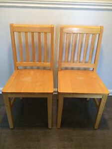Two wood chairs