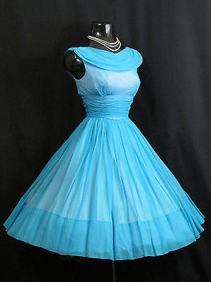 Vintage 1950's 50s Turquoise BLUE Ruched CHIFFON Organza Party Prom DRESS Gown - 50 Themed Party Clothes