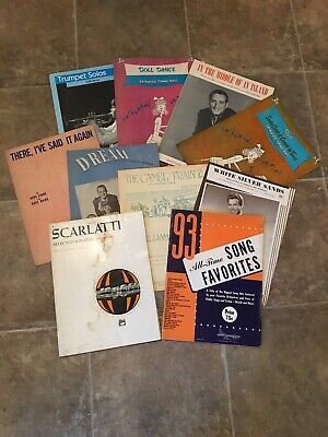 Vintage Sheet Music lot of 10 Trumpet,Piano Mixture Music SEE PICS Trumpet Piano Music
