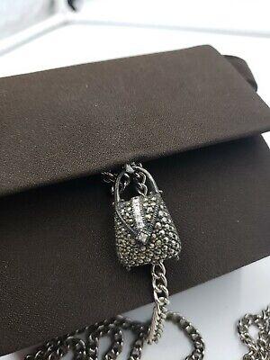 Judith Jack mini brown silk podeswa purse w/sterling silver accent purse charm