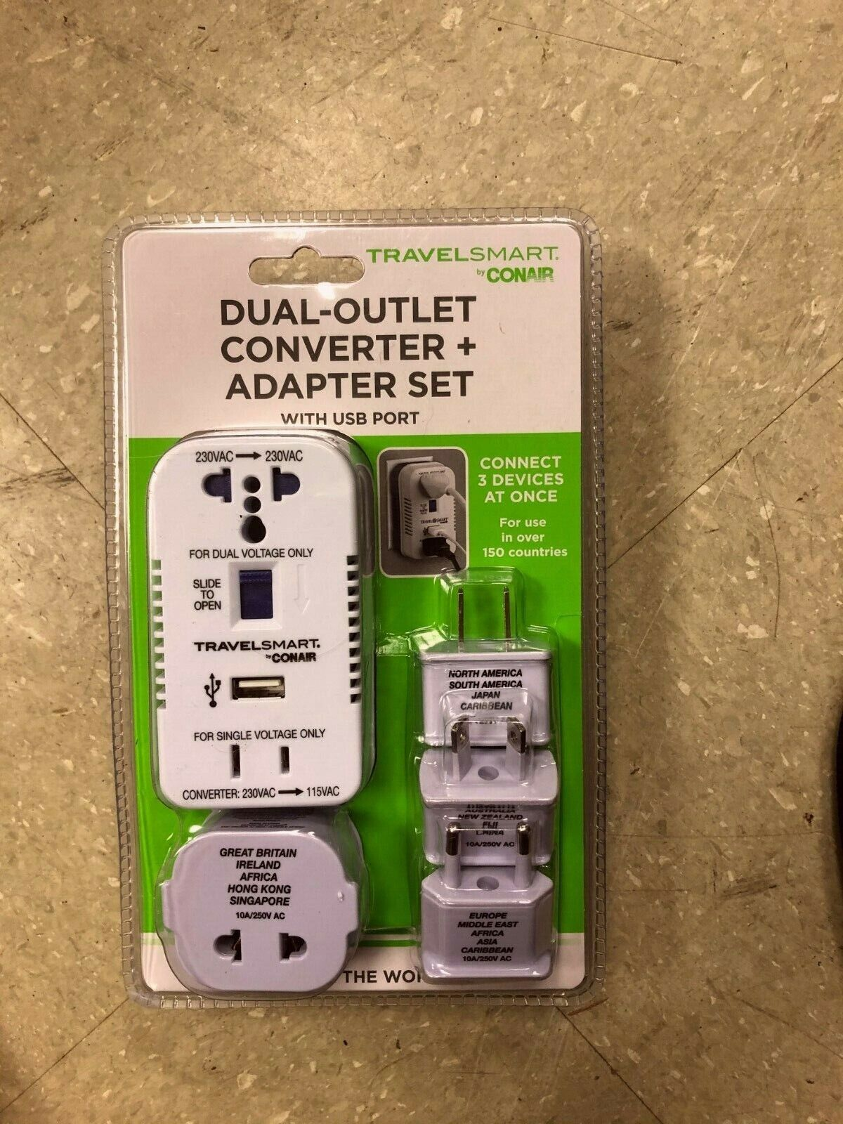 Travel Smart by Conair 2-Outlet 1875W Converter Set with USB Port and 4 Adapter