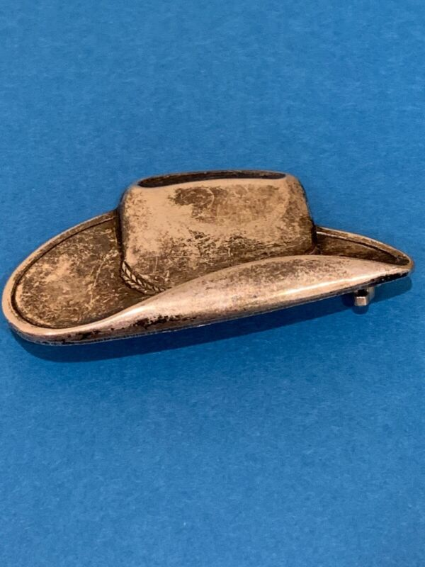 Vintage Silver Cowboy Cowgirl Hat Pin  Cool design! Western!