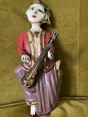Pair Vintage Hand Carved Painted Wooden Wall Hanging Musician Figures Thailand