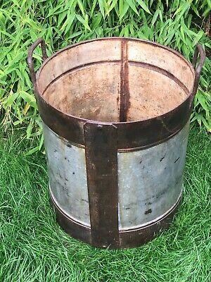 Vintage Large Indian Metal Riveted Steel Pot Bowl Container Garden Planter 3