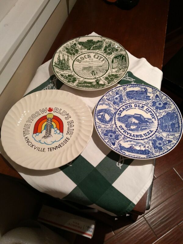 3 Tennessee Souvineer Plates Opryland Rock City Knoxville 1982 Worlds Fair +spoo