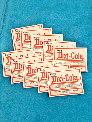 "10 VINTAGE DIXI-COLA LABEL - NEW - 4"" x 3"" - 10 COUNT"
