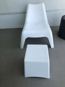 Ikea outdoor lounge chair and side table/footstool