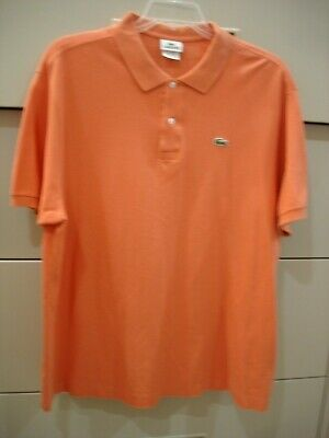 Men's Lacoste Orange Short Sleeve Polo Shirt Size 8 Chest 49 X 31
