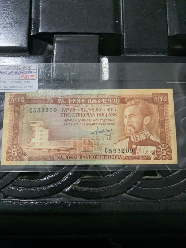 Ethiopia 5 Dollars ND 1966 (F-VF) Condition Banknote P-26