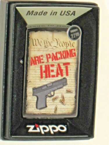 ZIPPO USA Windproof Lighter 80772 We The People Are Packing Heat Brushed Chrome