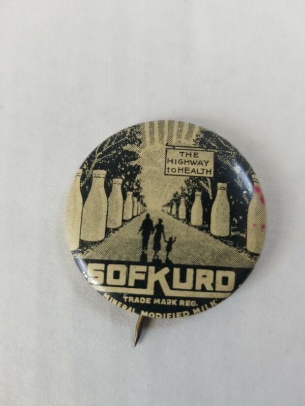Vintage Sofkurd Milk Advertising Pinback Button The Highway to Health