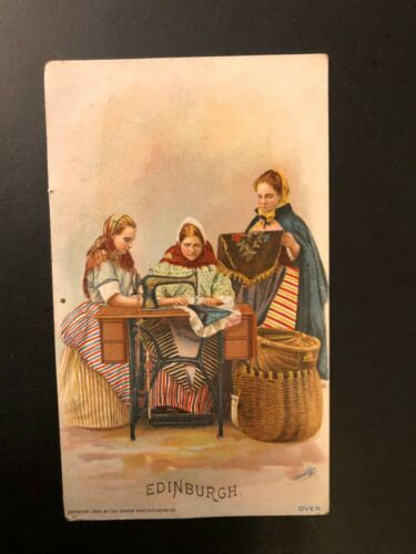 "1894 ""Edinburgh by SINGER Manufacturing Company-"" Postcard Made in Great Britain"