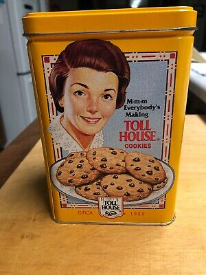 VINTAGE NESTLE TOLL HOUSE COOKIES METAL TIN WITH LID