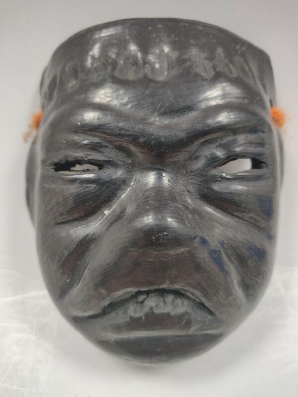 """Vintage Oaxaca Black Clay Pottery Mask 4 x 3.5"""""""