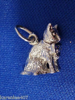Rembrandt Cat Charm - CAT Sterling Silver Charm 3-D SOLID  Animal Theme Kitty! New.
