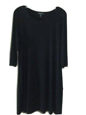 Eileen Fisher Black Knit Viscose/Spandex  Dress, 3/4 Sleeves, Size L