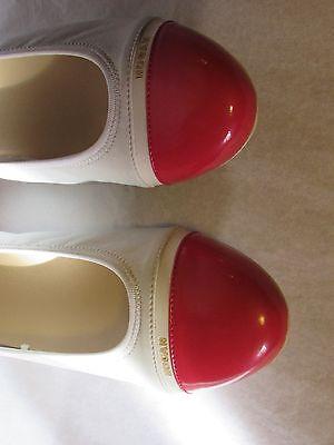 Ballerines hogan cuir verni fushia et cuir blanc 36,5
