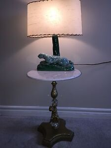 Italian MCM side table marble top cherub,50's lamp panther shade