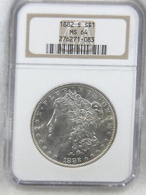 1882-S Morgan Dollar NGC MS64 Blast White Semi Mirror Superb Luster PQ #741M