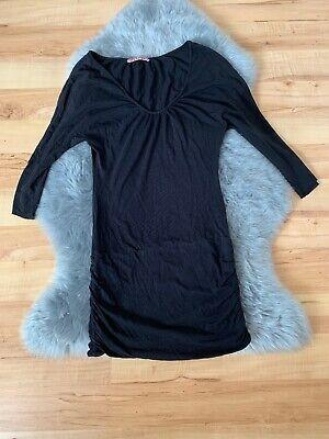 Velvet Oberteil Kleid schwarz gerafft 3/4 Arm Gr.S 100% Cotton Super Qualität (Velvet Kleid)