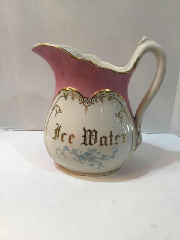 Antique Pink White Gold Ironstone ICE WATER Hotel Pitcher Vintage Victorian