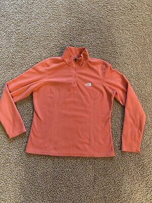 The North Face Women's 1/4 Zip Fleece Pullover Jacket Peach Size L Large VGUC
