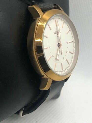 Fossil Q FTW5007 Women Black Leather Analog Silver Dial Hybrid Smart Watch HK320 - $29.99
