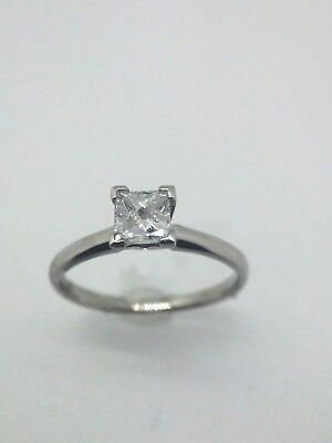 Cut Diamond Ring Band - .61 Ct Princess Cut Diamond Ring With Platinum Band! Size 7 - Collection #9813