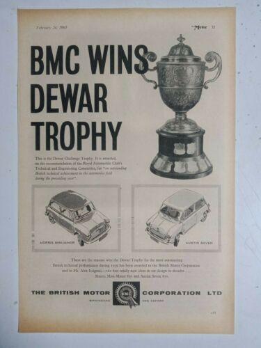 1960 BMC MORRIS MINI AUSTIN 7 WINS DEWAR TROPHY BRITISH MAGAZINE ADVERTISEMENT