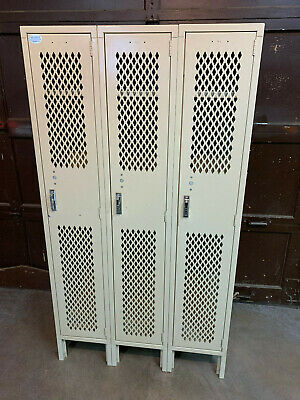 Used Metal Lockers Gym Industrial Lyon 5012 Putty Corridor School Steel
