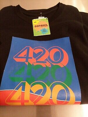 420 Weed 100% Heavy Cotton BLACK Tshirt Size Large NEW (imperfection)