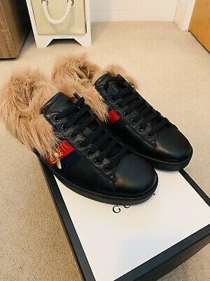 Gucci Trainers Black Ace with fur ! size 8 Brand New!!!!