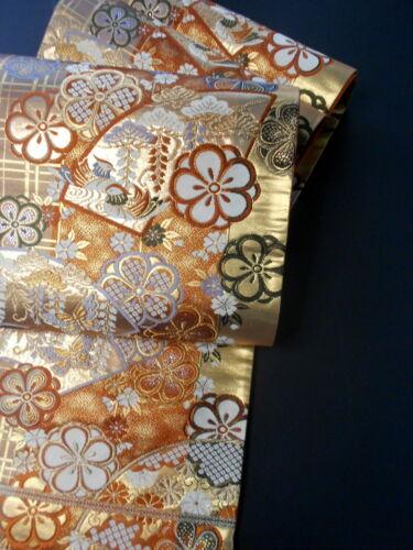 "Japanese Kimono SILK Fukuro OBI, Rokutu ,Gold thread/leaf, Plum , L167""..1693"