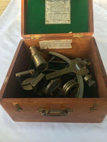 Antique Bronze Husun WWII Naval Sextant in Teak Box