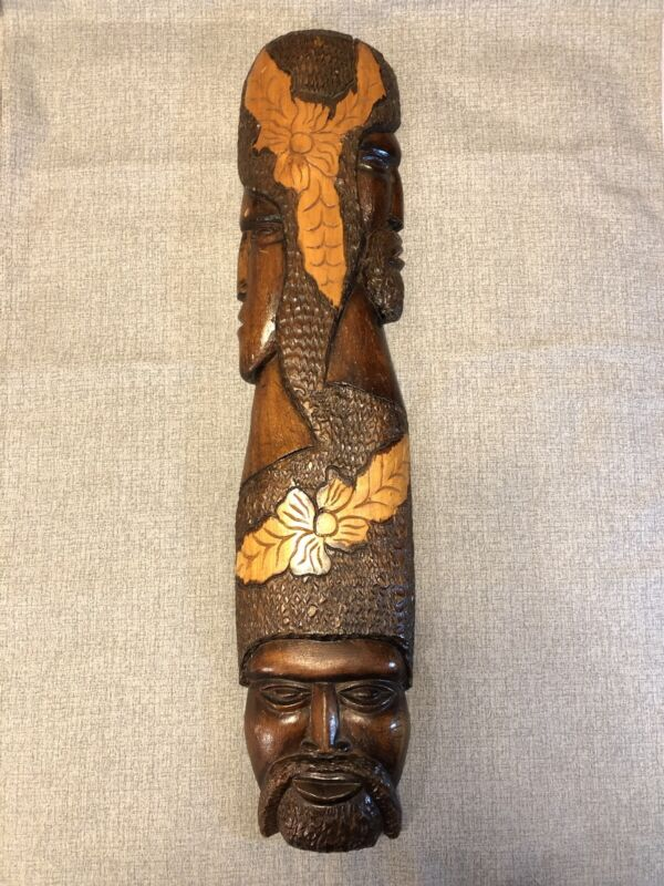 Vintage African Figural Face Wood Carved Folk Art Tribal Hawaiian Plaque Decor