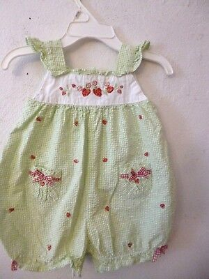 Starting Out Baby Girl one piece green/white check embroidered strawberries 6 mo